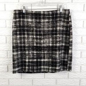 Ann Taylor Pencil Skirt 14 Plaid Velour Wool Blend